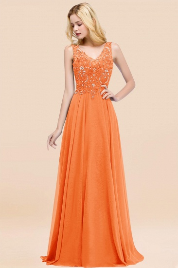 BMbridal Affordable Lace V-Neck Navy Bridesmaid Dresses With Appliques_15
