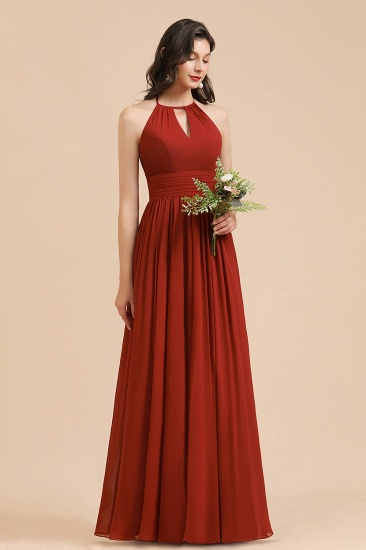 BMbridal Rust Halter Long Chiffon Bridesmaid Dress On Sale_6