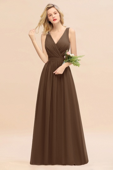 BMbridal Affordable V-Neck Ruffle Long Grape Chiffon Bridesmaid Dress with Bow_12
