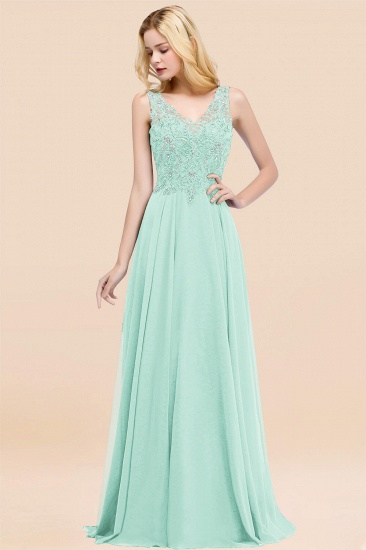 BMbridal Affordable Lace V-Neck Navy Bridesmaid Dresses With Appliques_36