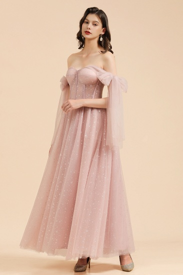 BMbridal V-neck Tulle Long Evening Pink Prom Dress Online_4