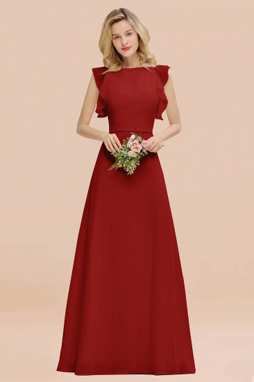 BMbridal Simple Jewel Draped Sleeves Blushing Pink Bridesmaid Dress Online_48