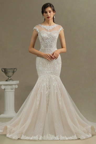 BMbridal Cap Sleeves Lace Mermaid Long Wedding Dresses