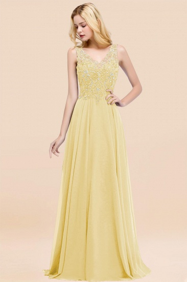 BMbridal Affordable Lace V-Neck Navy Bridesmaid Dresses With Appliques_18