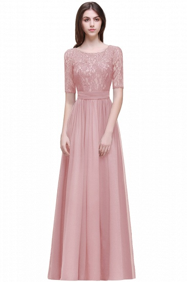 BMbridal Half-Sleeve Lace Long Chiffon Evening Dress_3