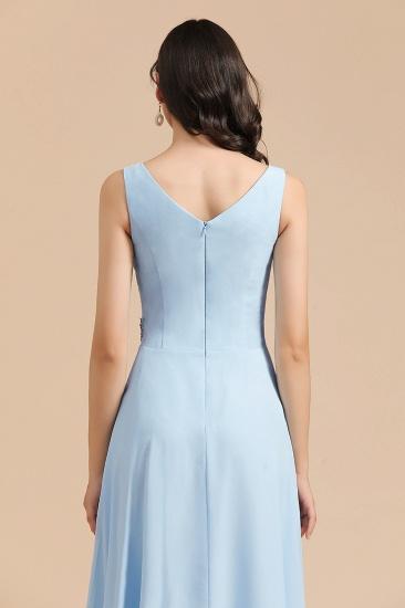 BMbridal Sky Blue Chiffon Long Bridesmaid Dress Ruched_9