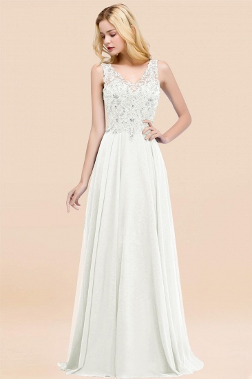 BMbridal Affordable Lace V-Neck Navy Bridesmaid Dresses With Appliques_2