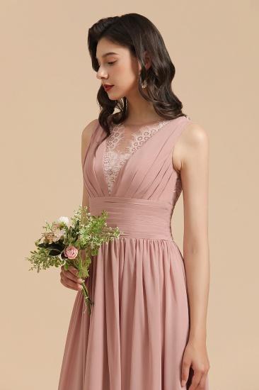 BMbridal Dusty Rose Chiffon V-Neck Bridesmaid Dress Long_9
