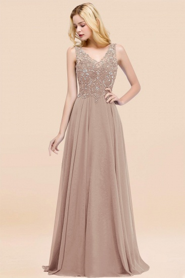 BMbridal Affordable Lace V-Neck Navy Bridesmaid Dresses With Appliques_16