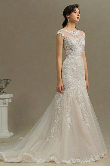 BMbridal Cap Sleeves Lace Mermaid Long Wedding Dresses_5