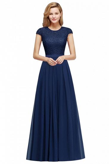 BMbridal A-line Jewel Short Sleeves Chiffon Lace Bridesmaid Dress_6