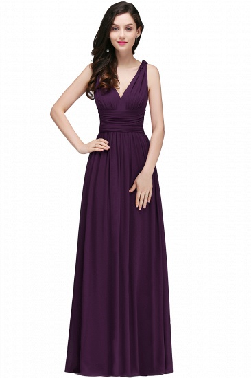 BMbridal Affordable Chiffon V-Neck Burgundy Bridesmaid Dress with Ruffle In Stock_4