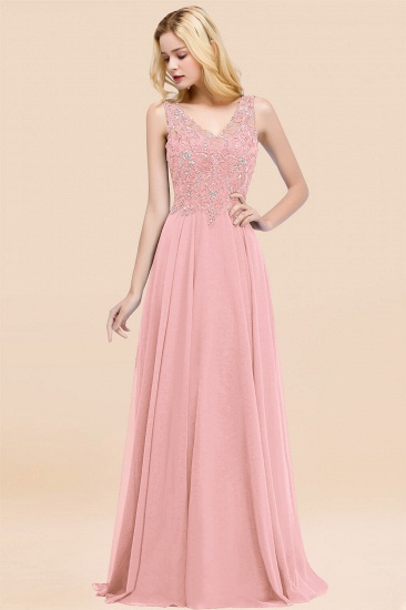 BMbridal Affordable Lace V-Neck Navy Bridesmaid Dresses With Appliques_4