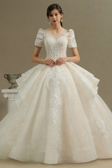 BMbridal Glamorous Short Sleeve Lace Ball Gown Wedding Dress