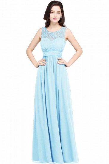 BMbridal Elegant Lace Chiffon Affordable Long Navy Bridesmaid Dresses In Stock_5