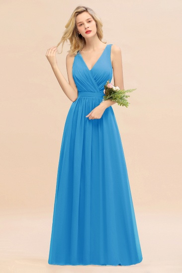 BMbridal Affordable V-Neck Ruffle Long Grape Chiffon Bridesmaid Dress with Bow_25