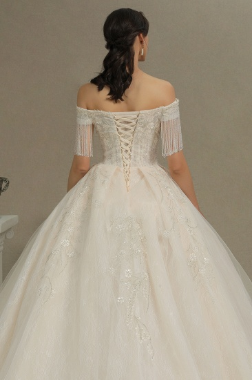 BMbridal Off-the-Shoulder Tassels Ball Gown Wedding Dress With Beads_8