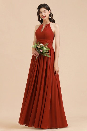 BMbridal Rust Halter Long Chiffon Bridesmaid Dress On Sale