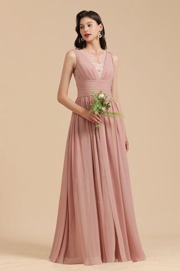 BMbridal Dusty Rose Chiffon V-Neck Bridesmaid Dress Long_4
