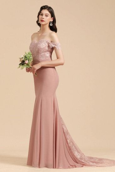 BMbridal Dusty Rose Off-the-Shoulder Lace Bridesmaid Dress_7