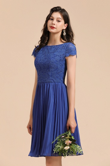 BMbridal Short Sleeve Royal Blue Lace Junior Bridesmaid Dress