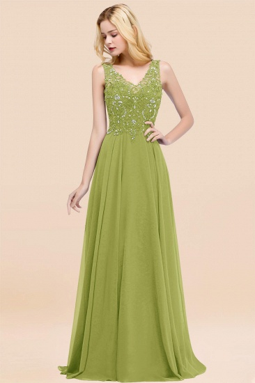 BMbridal Affordable Lace V-Neck Navy Bridesmaid Dresses With Appliques_34
