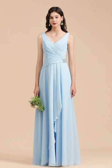 BMbridal Sky Blue Chiffon Long Bridesmaid Dress Ruched