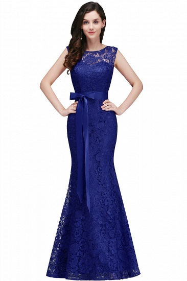 BMbridal Ribbon Sash Floor-length Sleeveless Lace Mermaid Evening Dress_3