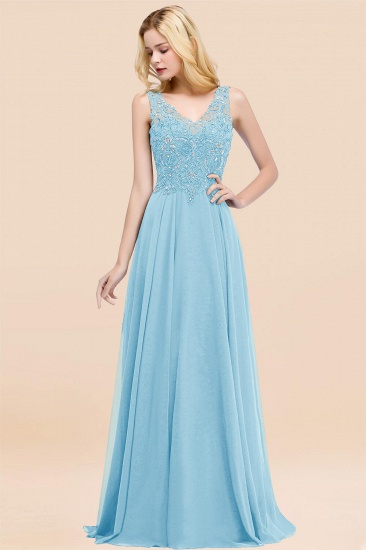 BMbridal Affordable Lace V-Neck Navy Bridesmaid Dresses With Appliques_23