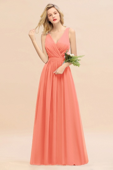 BMbridal Affordable V-Neck Ruffle Long Grape Chiffon Bridesmaid Dress with Bow_45