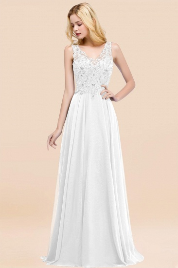 BMbridal Affordable Lace V-Neck Navy Bridesmaid Dresses With Appliques_1