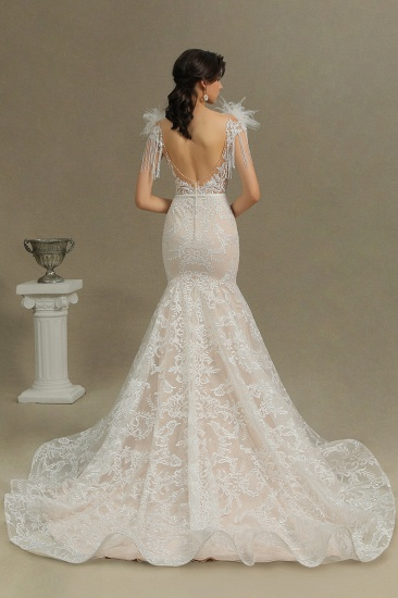 BMbridal Scoop Lace Mermaid Wedding Dress With Feather_2