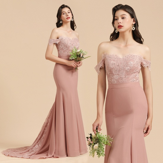 BMbridal Dusty Rose Off-the-Shoulder Lace Bridesmaid Dress_10