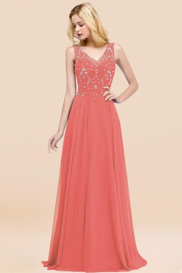 BMbridal Affordable Lace V-Neck Navy Bridesmaid Dresses With Appliques_7