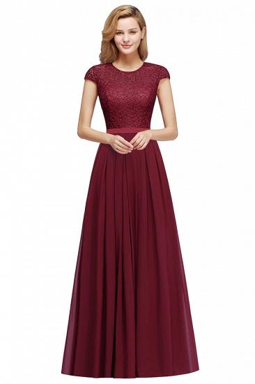 BMbridal A-line Jewel Short Sleeves Chiffon Lace Bridesmaid Dress_3