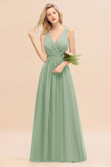 BMbridal Affordable V-Neck Ruffle Long Grape Chiffon Bridesmaid Dress with Bow_41