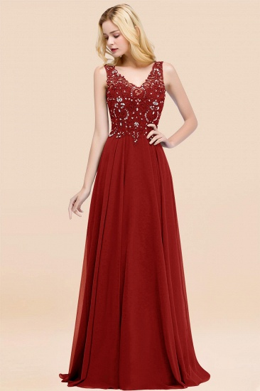BMbridal Affordable Lace V-Neck Navy Bridesmaid Dresses With Appliques_48