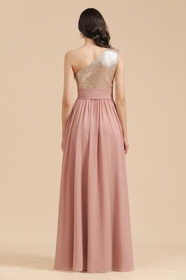 BMbridal One Shoulder Sequins Dusty Rose Bridesmaid Dress_3