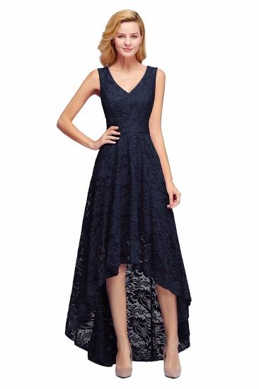 BMbridal A-line Hi-lo V-neck Sleeveless Burgundy Lace Dress_4