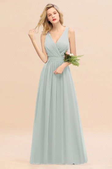 BMbridal Affordable V-Neck Ruffle Long Grape Chiffon Bridesmaid Dress with Bow_38
