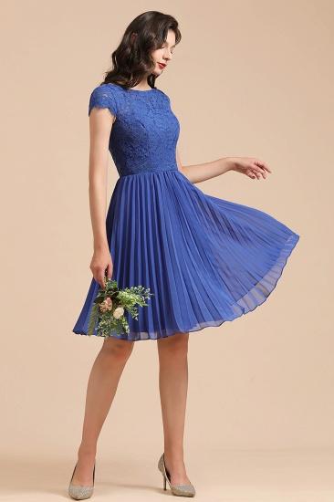 BMbridal Short Sleeve Royal Blue Lace Junior Bridesmaid Dress_7