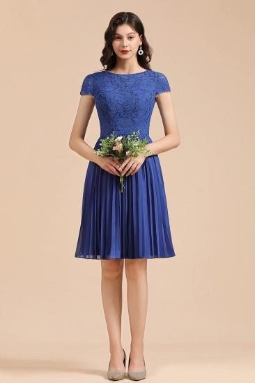 BMbridal Short Sleeve Royal Blue Lace Junior Bridesmaid Dress_6