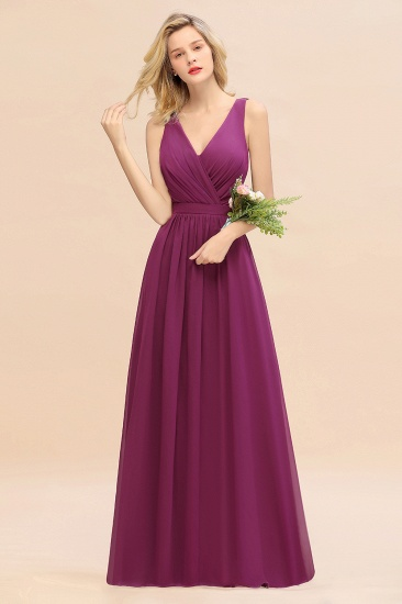 BMbridal Affordable V-Neck Ruffle Long Grape Chiffon Bridesmaid Dress with Bow_42