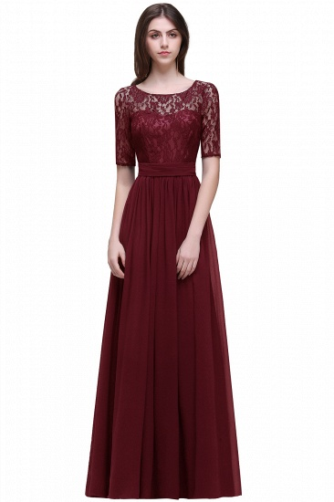 BMbridal Half-Sleeve Lace Long Chiffon Evening Dress_4