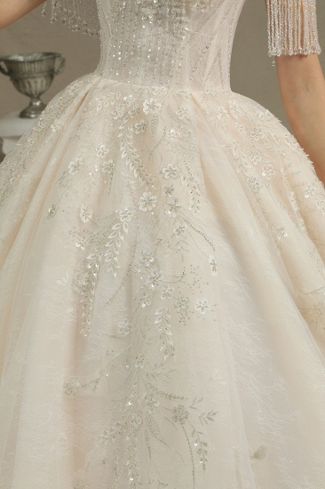 BMbridal Off-the-Shoulder Tassels Ball Gown Wedding Dress With Beads_4
