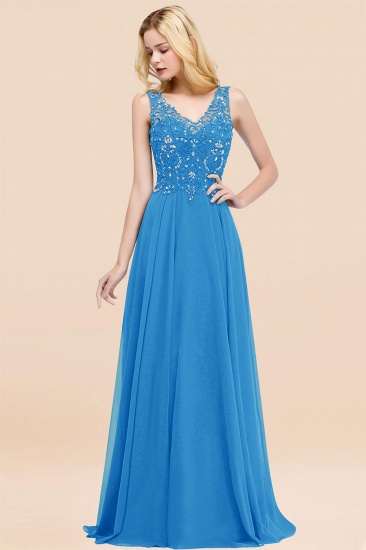 BMbridal Affordable Lace V-Neck Navy Bridesmaid Dresses With Appliques_25