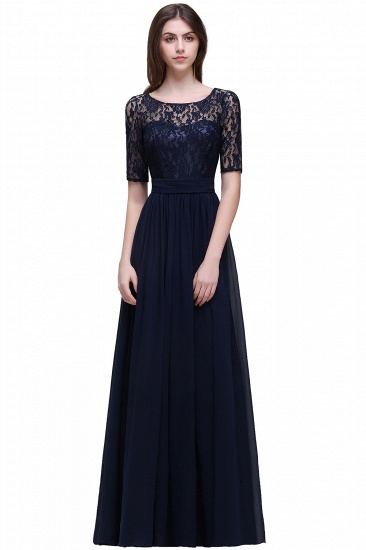 BMbridal Half-Sleeve Lace Long Chiffon Evening Dress_6