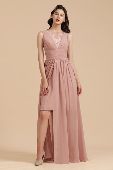 BMbridal Dusty Rose Chiffon V-Neck Bridesmaid Dress Long_6