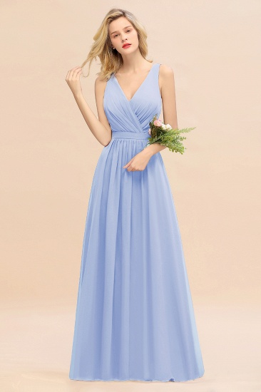 BMbridal Affordable V-Neck Ruffle Long Grape Chiffon Bridesmaid Dress with Bow_22