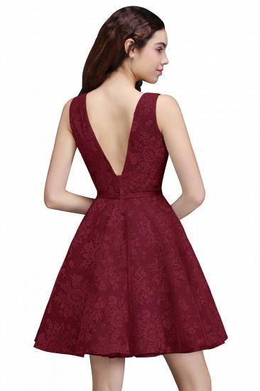 BMbridal Designer V Neck A Line Sheer Lace Short Homecoming Dress_2